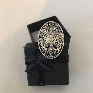 Filigree Silvertone Better Fashion Rhinestone Ring